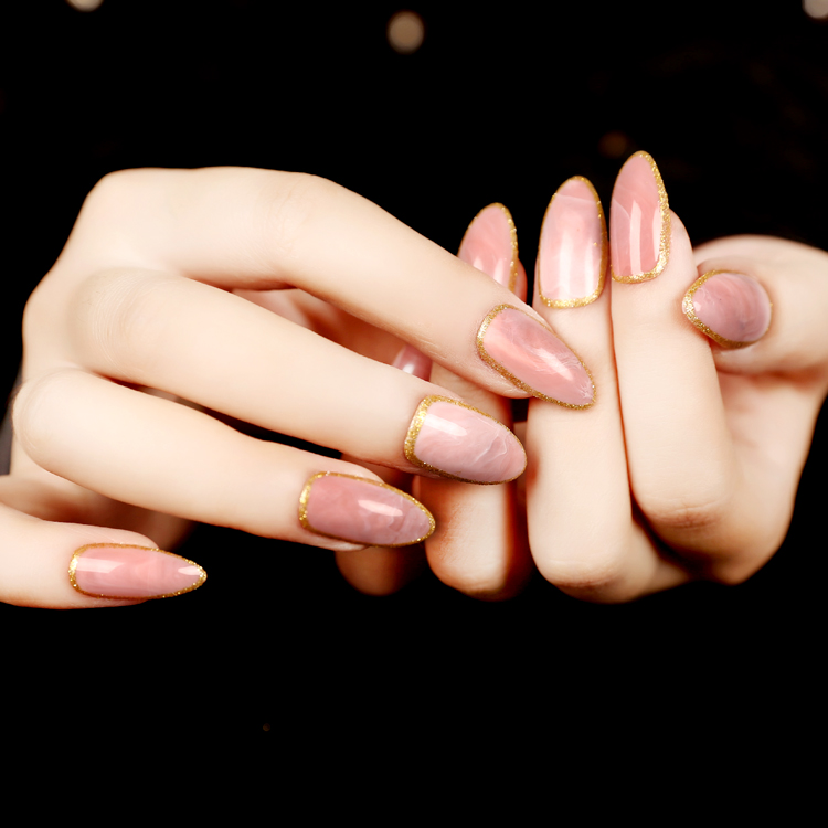 Hot Selling 24pcs/set Pink Stone Texture Sllipse Shape Short Fake Nails Full Plastic Artificial Nails Tips nep nagels