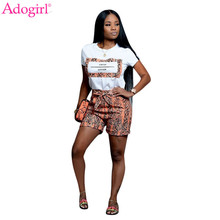 Adogirl Letter Print Snakeskin Casual Two Piece Set O Neck Short Sleeve Women T Shirt Top Bow Tie Waist Shorts Fashion Clothing