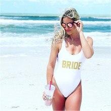 Bride Squad Sexy 2017 One Piece Swimsuit Women Swinsuit High cut Bathing Suit Monokini  BodySuit Beach Bachelorette Jumpsuit