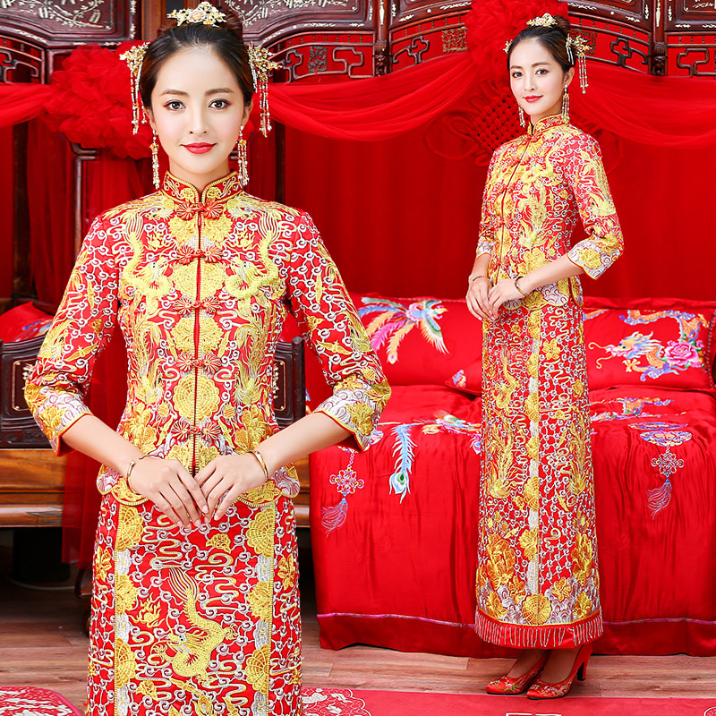 Traditional Chinese Women Dragon phoenix Cheongsam Vintage Embroidery Wedding Dress De Noiva Formal Dresses Red Marriage