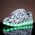 De carga USB 8 colores led luminoso zapatos hombres parejas casuales de colores iluminan zapatos tamaño 35-44 de neón zapatillas con luces