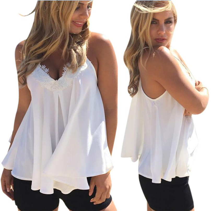 sexy V neck lace patchwork tank tops sweet camis shirts sleeveless white Tank tops ladies summer casual Elegant  tops #HFR52