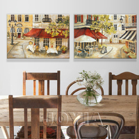 2pcs Set Quality Impressionist Beautiful Street Scene Oil Painting Canvas Wall Art Picture Decorative Artwork On