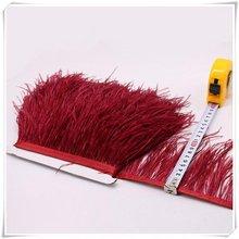 10-15 см винно-красный Страус отделка бахромой с пером с атласной лентой ленты, костюмы украшения, страусиные волосы перо отделка
