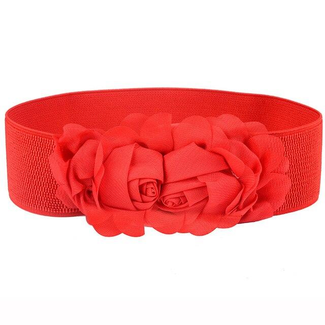 Elastic belt bow super wide girdle buckle all-match elastic waistband dress accessories black rose belt cummerbunds faja 2