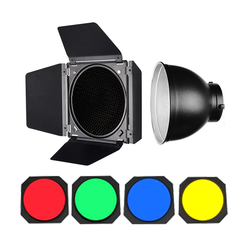 Studio Godox Large Barn Door Honeycomb Grid 4 Color Gel Filter 7 18cm Bowens Standard Reflector