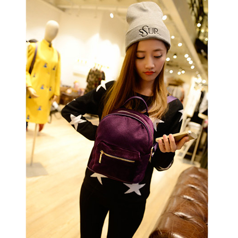 MISS YING New Fashion Women Mini Velvet Backpack Designer High Quality Casual Style Travel Backpack School Bag For Teenage Girls 1