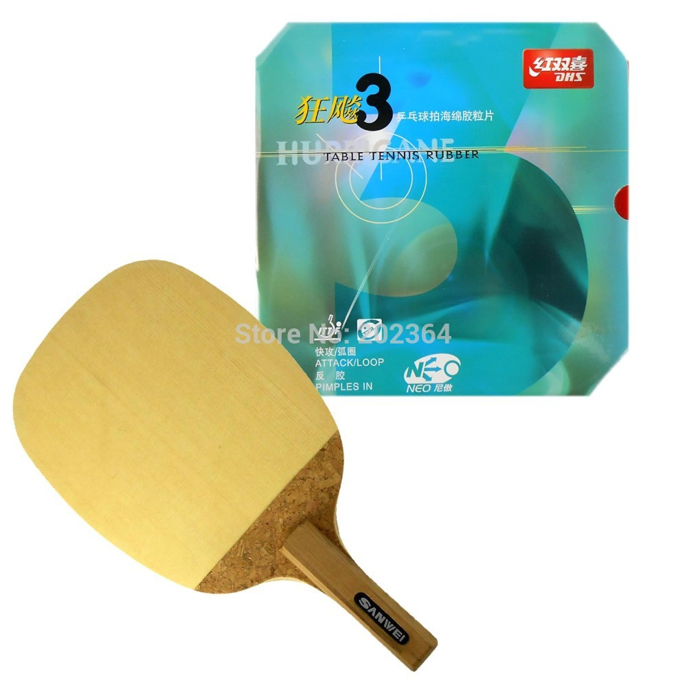 Sanwei R1 Table Tennis Blade Japanese penhold With DHS NEO Hurricane3 Rubber With Sponge for a PingPong Racket JS dhs hurricane h ln table tennis pingpong blade penhold short handle cs