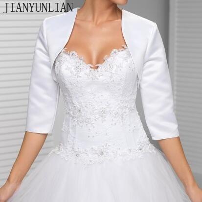 Custom made White In the sleeve wedding jacket New Arrival satin bolero jackets for evening dresses Free shipping Bridal Jacket
