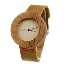 100% Marca de Moda de Cuero Genuino De Bambú De Madera De Madera del Hombre Relojes Con Alta Janpese 2035 MIYOTA Movimiento Wistwatches