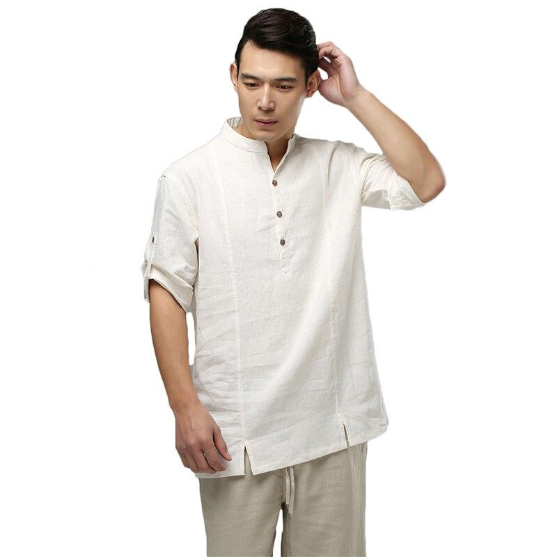 여름 패션 고품질의 순수 린넨 남성 셔츠 캐주얼 남성 셔츠 반소매 유럽 크기 남자 셔츠 3 색
