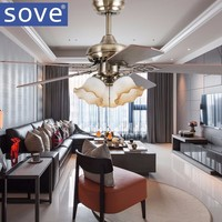 SOVE 42 Inch Modern Bronze Village Ceiling Fans With Lights Bedroom Ceiling Light Fan Lamp 220