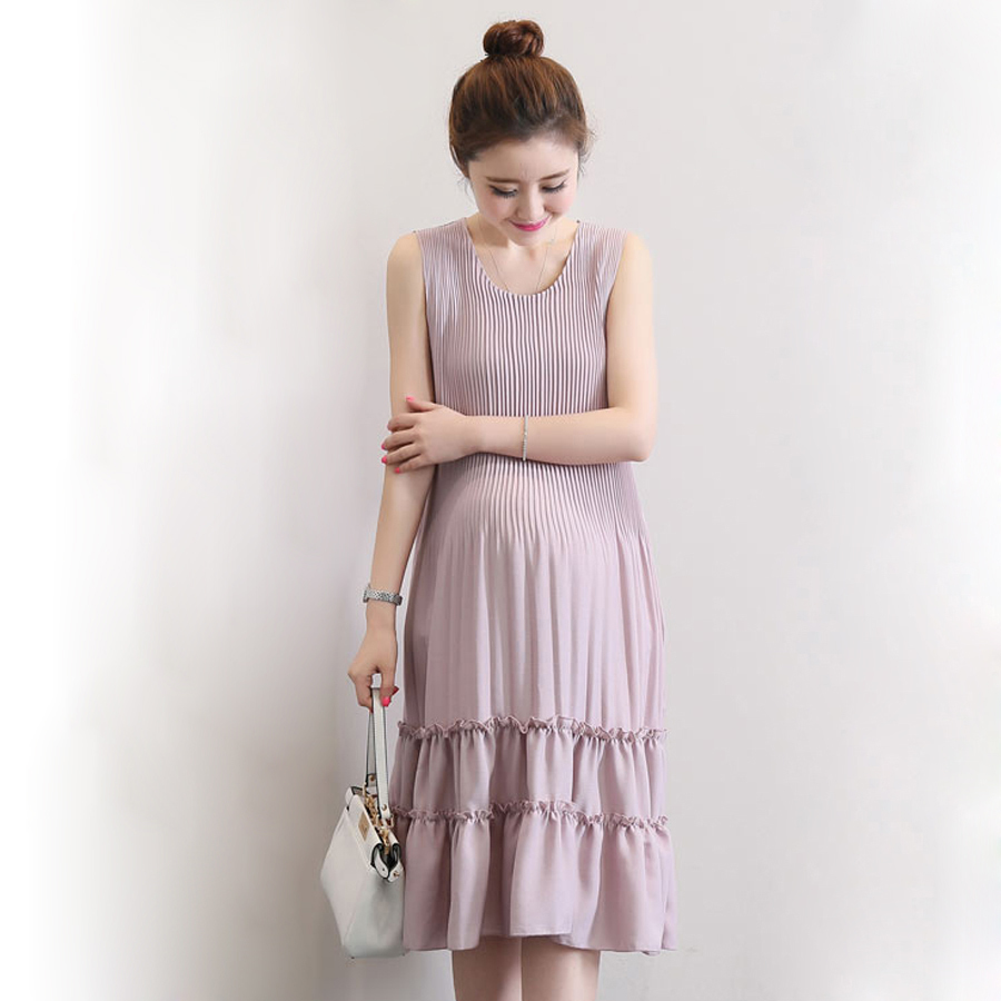 Popular pregnant party summer dress buy cheap pregnant party patchwork maternity dresses summer pregnant woman sleeveless pleated long dress for party costume solid pregnancy clothes ombrellifo Image collections
