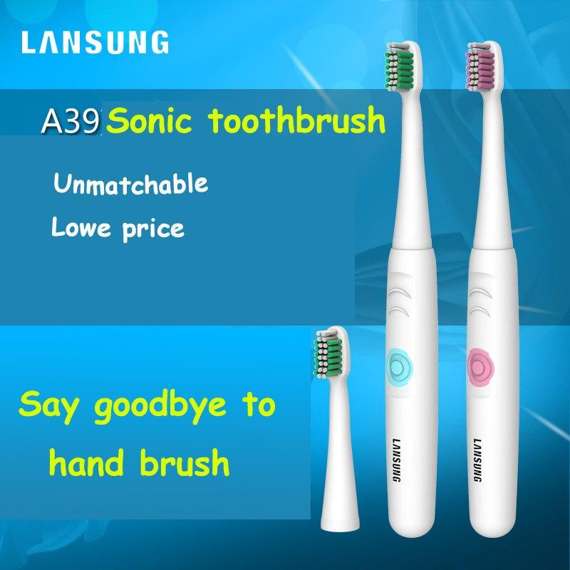 LANSUNG 2018 Fonctionnant Sur Batterie Électrique Brosse À Dents Oral D'hygiène des Produits de Santé No Rechargeable Brosse à Dents bleu ou rose couleur