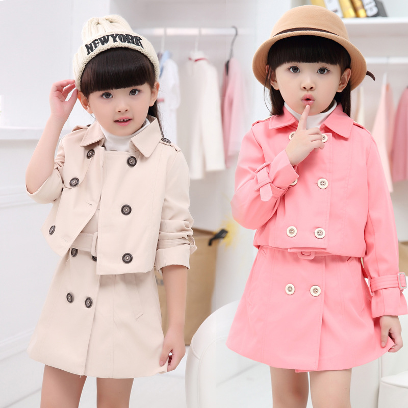 Spring Autumn Girl Dress Wind Coat Cardigan Jacket Dress Set For Girls Brand Casual Casaco 2pc Kids Winter Clothing Outwear Set free shipping 2016 kid girl fashion solid color wind coat outerwear child girl cappa dress jacket spring autumn winter girl coat