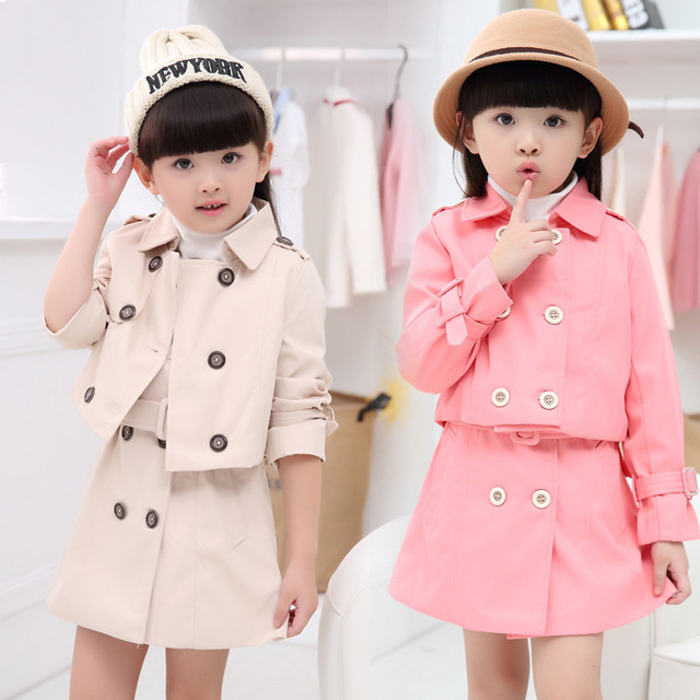 72b161cb7 Spring Autumn Girl Dress Wind Coat Cardigan Jacket Dress Set For ...