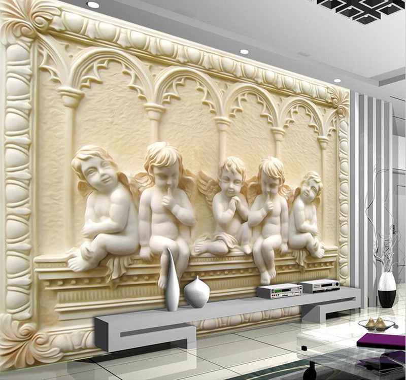 Customized 3D Photo Wallpaper Murals Luxury European Angel Cupid Embossed Wall paper Living Room TV Background Home Decor Mural home decor 3 d wallpapers murals nature reeds photo wallpaper for living room bedroom tv sofa background paper mural