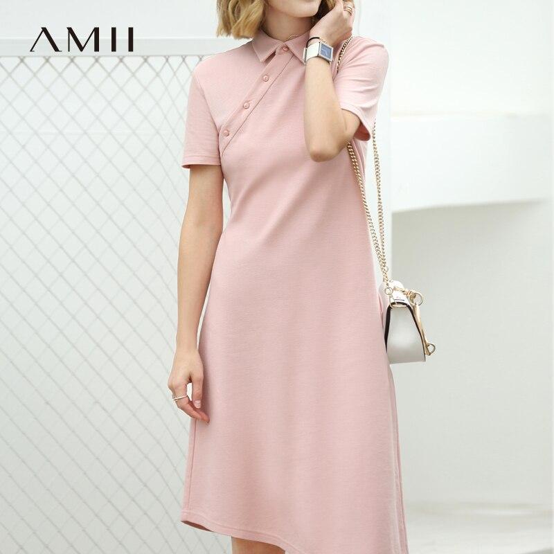 Amii Women Minimalist 2018 Summer Dress for Work Polo Collar Asymmetric 100% Cotton Short Sleeved Female Dresses