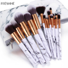 FRESHME Marble Pattern Makeup Brushes Tool Cosmetic Eyebrow Eyeshadow Lip Foundation Make Up Brush Set Kits Pinceaux Maquillage