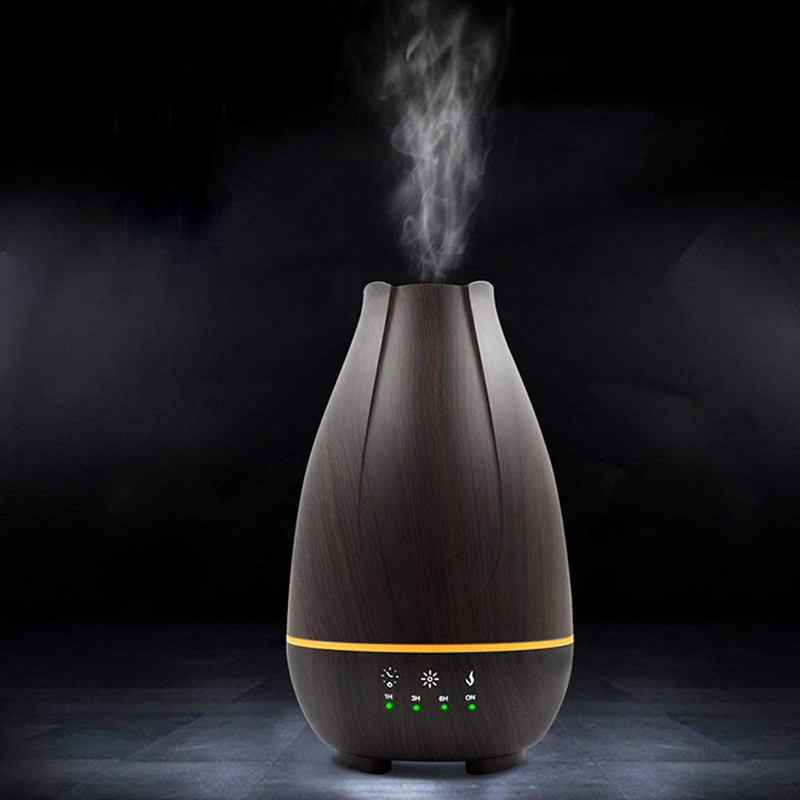 EU plug Capacity 500ML LED Lights Ultrasonic Aromatherapy Essential Oil Spray Wood Grain Black Diffuser Air Humidifier Apply in Humidifiers from Home Appliances