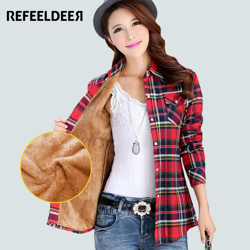 Velvet Thick Warm Women S Plaid Shirt Female Long Sleeve