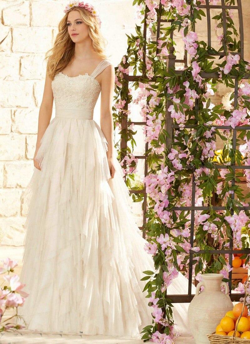 Backless 2017 Beach Wedding Dresses Una Línea de Novia de Gasa de Encaje Vestido