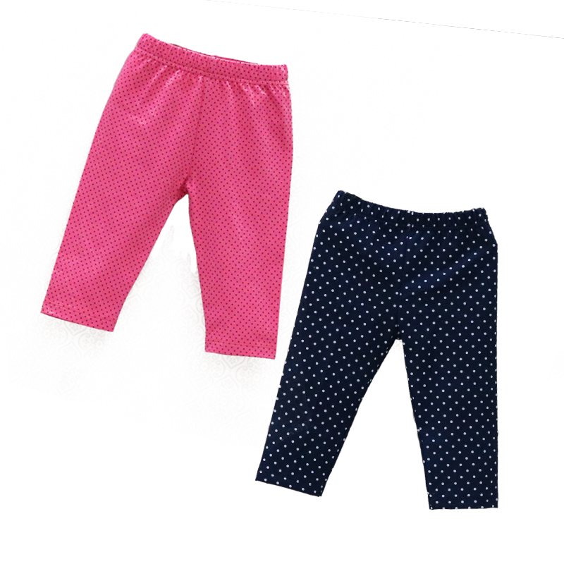 2019 New Style Baby Long Knee Length Pants Elastic Waist Leggings 2 Pcs/lot Kids Clothes Girls Clothing