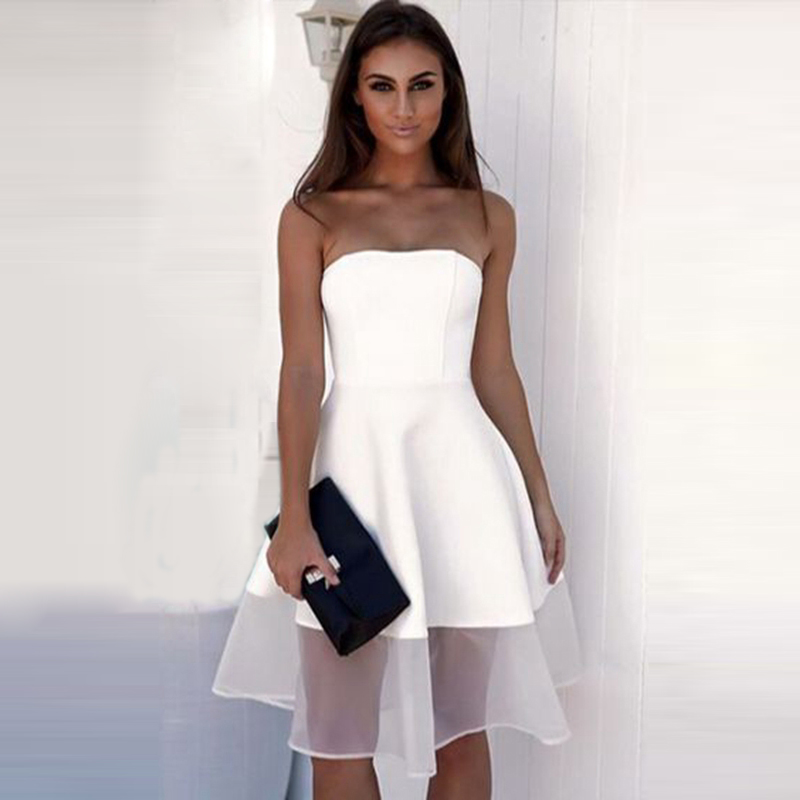 Off Shoulder Mesh Women <font><b>Dress</b></font> Wrapped Chest <font><b>Dress</b></font> White Casual Strapless Elegant Short Evening Party <font><b>Backless</b></font> <font><b>Sexy</b></font> <font><b>Dresses</b></font> 2019 image