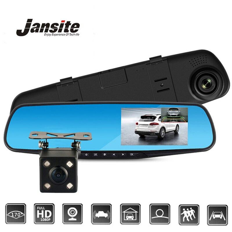 Jansite Carro DVR Dual Lens Camera Car Full HD 1080 p Gravador de Vídeo Espelho Retrovisor Com câmera de visão Traseira DVR Traço cam Auto Registrator
