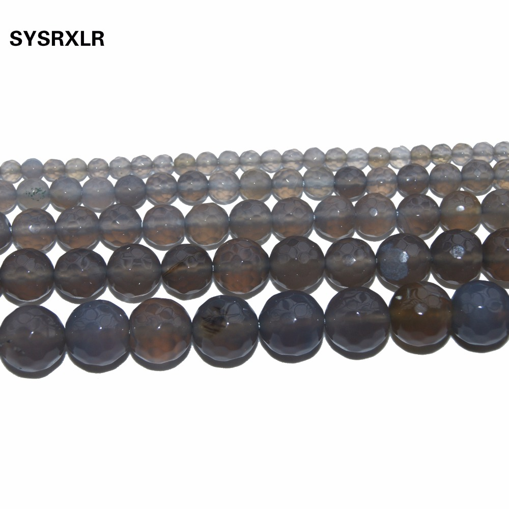 Free Shipping Natural Stone Beads Faceted Gray Agat Round Beads For Jewelry Making DIY Bracelet Necklace 4 6 8 10 12 MM Strand in Beads from Jewelry Accessories