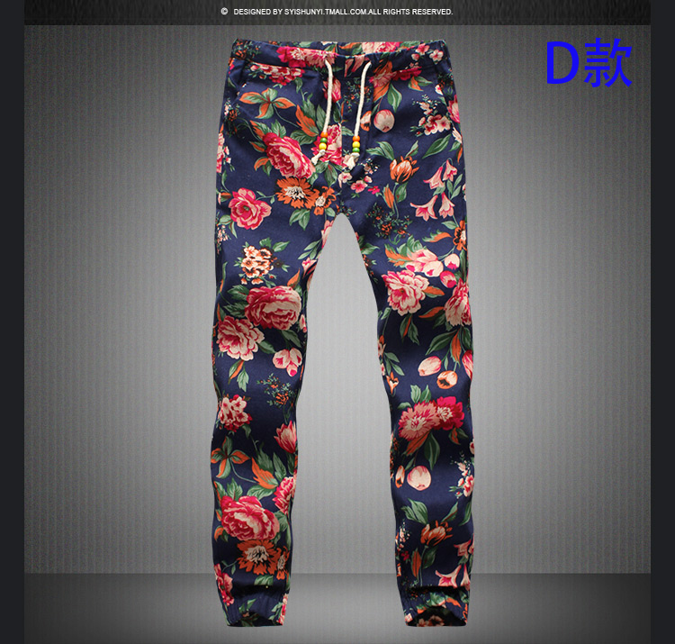 2020 New Fashion Summer Spring Autumn Men Floral Print Joggers Male Casual Summer Pants Mens Sweatpants Linen Pants Men Trouser