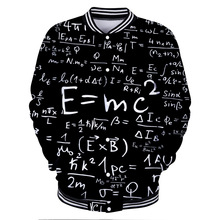 ZOGAA 3D Digital Printed Clothes Men's and Women's Baseball Clapper Coats E = MC2 men jacket Albert Einstein great scientist