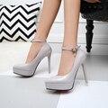 De las mujeres Del Dedo Del Pie Puntiagudo Zapatos de tacón alto Con Plataforma 12 cm Sexy Rojo Zapatos de Novia de la Boda