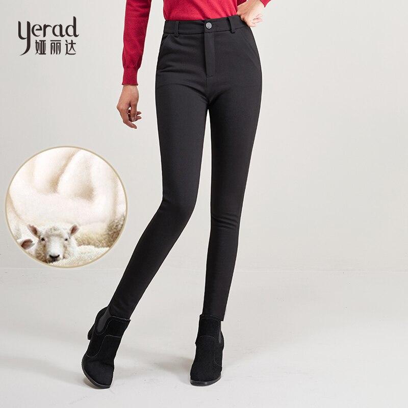 YERAD Hiver Chaud Laine De Remplissage Crayon Pantalon Slim Épaississent Laine Extensible Noir Crayon Pantalon Taille Haute Leggings