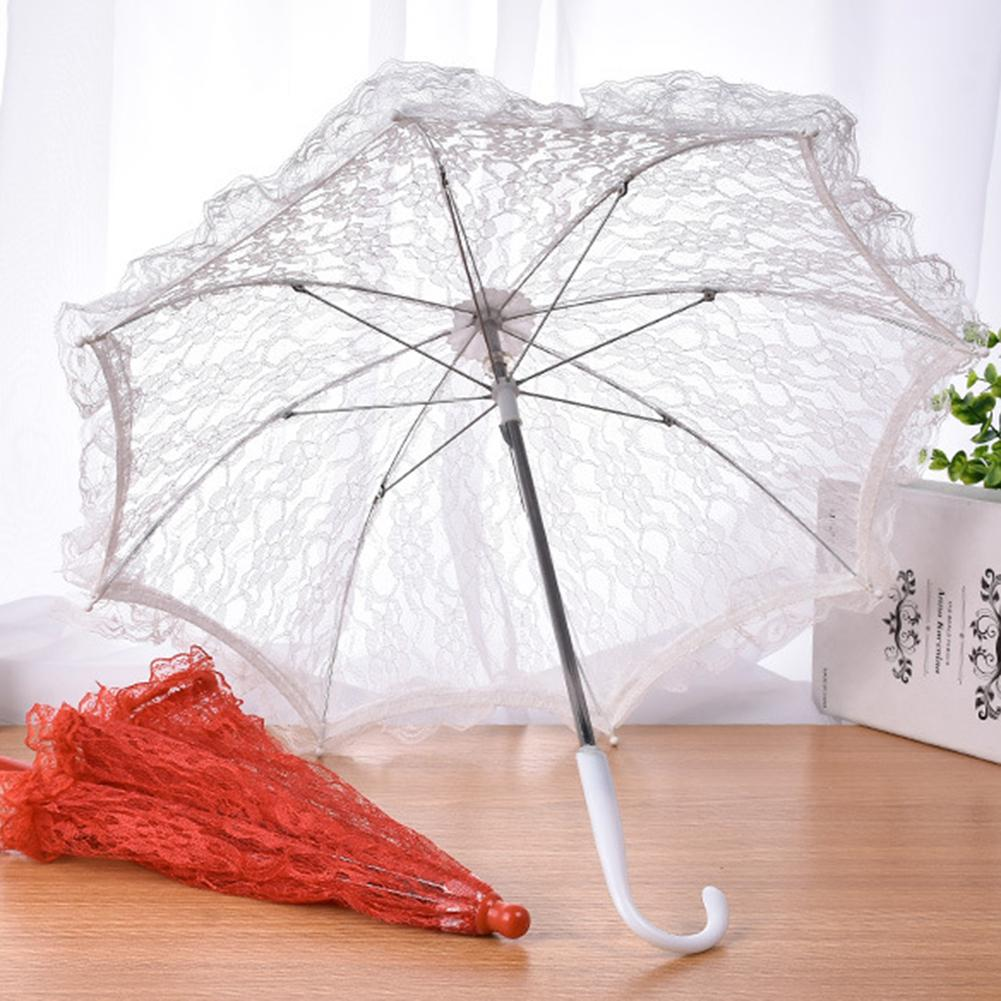 Image 2 - Wedding Flower Girl Lace Umbrella European And American Style Bride Decoration Umbrella Trumpet Photography Props-in Umbrellas from Home & Garden