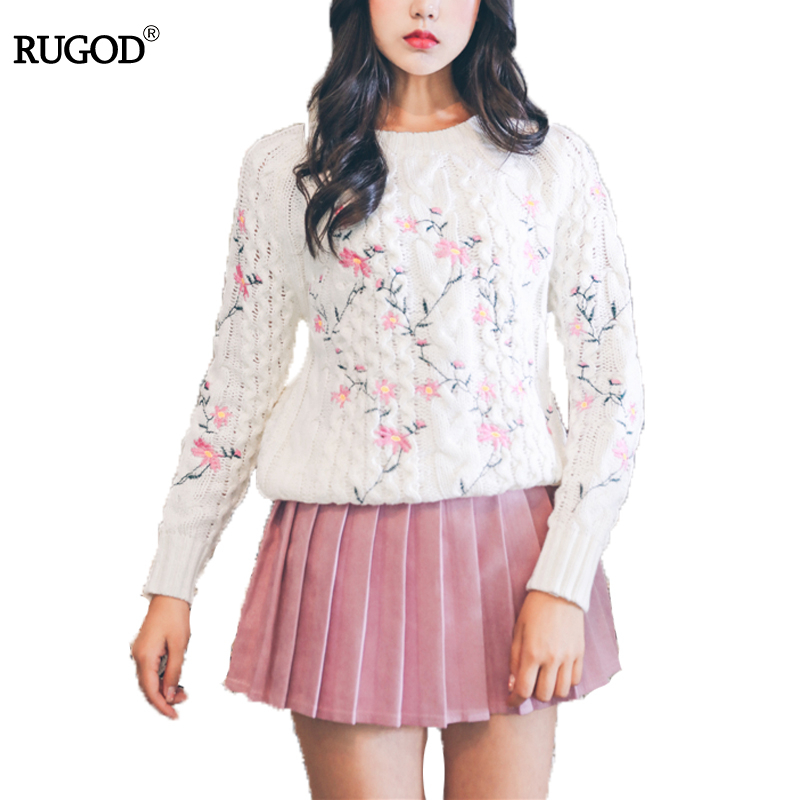 RUGOD Embroidery O neck Floral Sweater For Women Knitted Pullover Of Japan Style Fashionable Thick Pullover