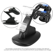 LED Dual USB Charging Charger Dock Stand Cradle Docking Station for Sony Playstation 4 PS4 Game Gaming Console Controller gift цена в Москве и Питере