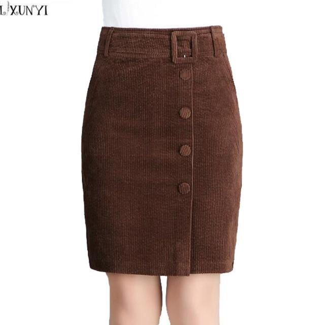 104531d3ac1 LXUNYI Corduroy Skirt Women 2019 New Korean High Waist Skirts Womens Plus  Size Vintage Knee Length Midi Slim Pencil Skirt Belt