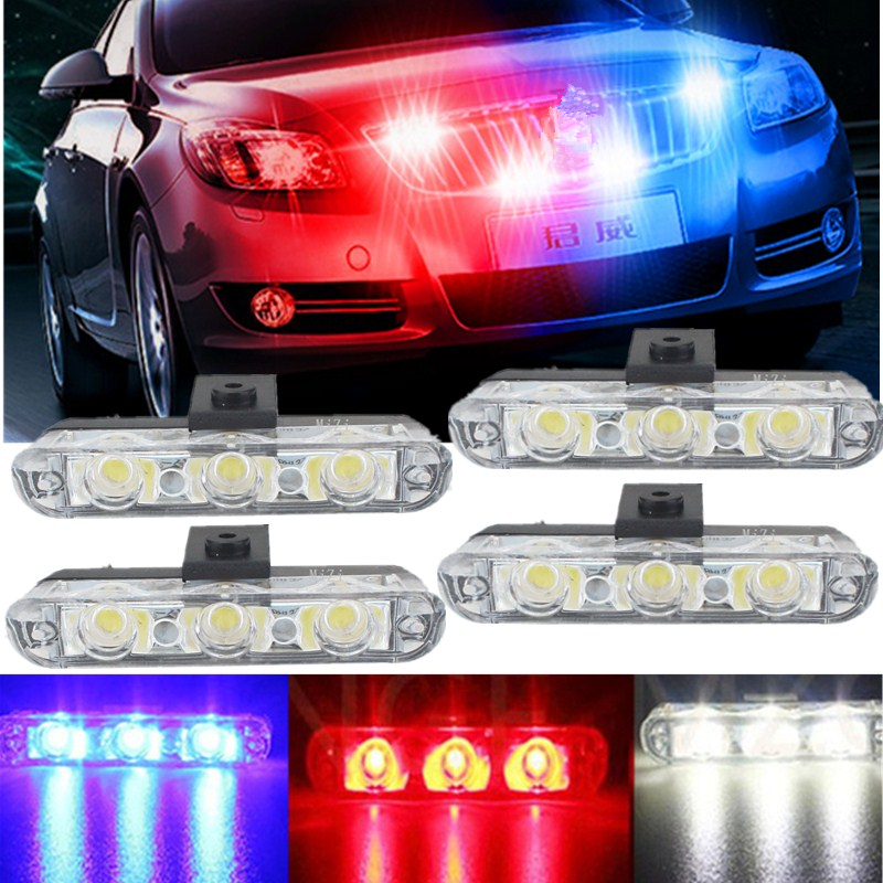 High Power Led Super Bright Wholesale 4x3/led Ambulance Police light Car Truck Emergency Lights DC 12V Strobe Warning light free shipping super bright 4 6 led car strobe light high power white