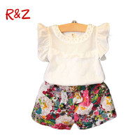 2015 New Arrival Girls Clothing Set Lnice In European Style Fashion Summer T Shirt Skirt Harem