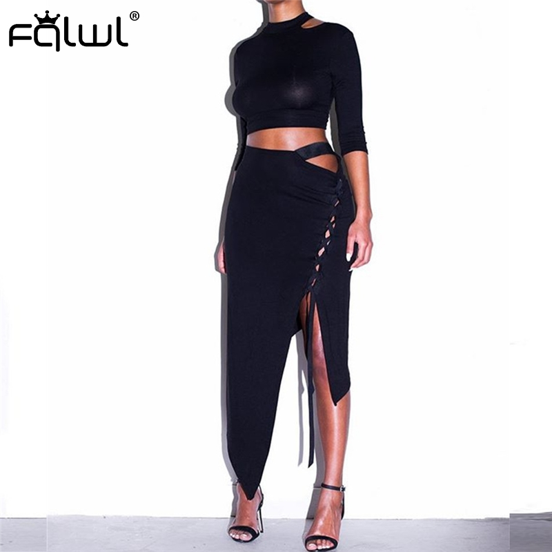FQLWL Lace Up <font><b>Sexy</b></font> Bodycon <font><b>Dress</b></font> Women Asymmetrical Black Two Piece Midi Bandage <font><b>Dress</b></font> Female <font><b>Ladies</b></font> Nightclub Party Wrap <font><b>Dress</b></font> image