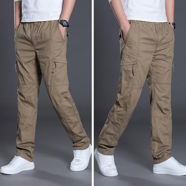 2019 Moda Verão Homens Calças de Algodão Casuais Calças Compridas Calças Retas Corredores Homme Plus Size 5xl 6xl Calças de Trabalho de Negócio para homens
