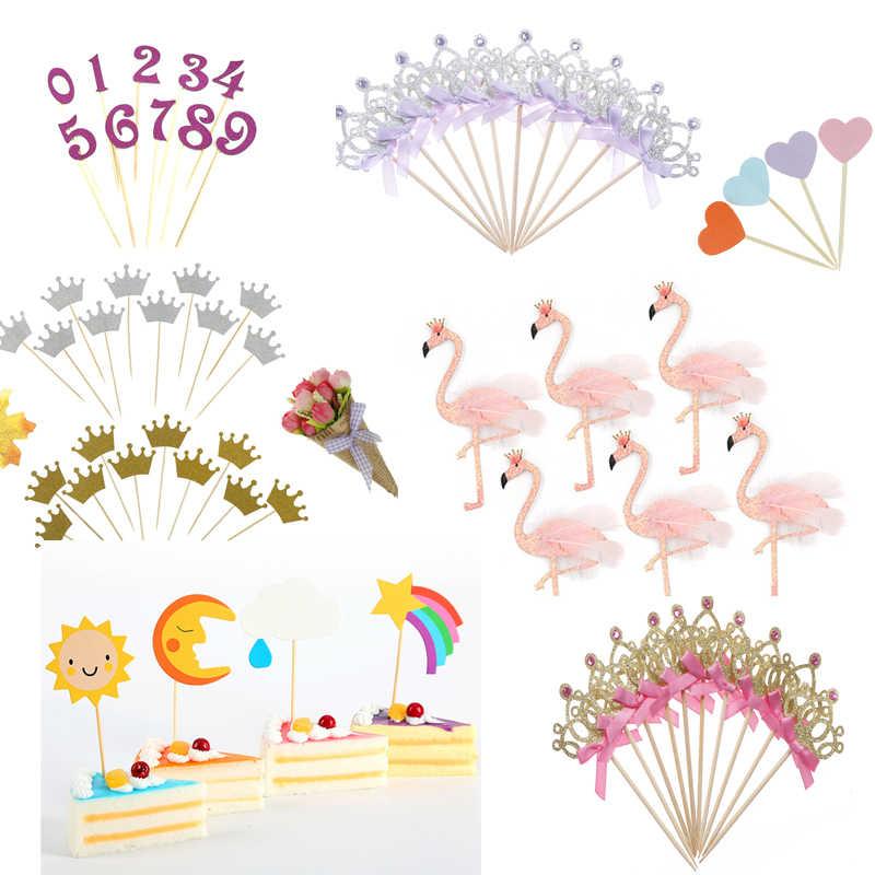 Toppers de Cupcake fait à la main en forme de cœur rose | 10 pièces/1 pièces, fournitures de fête, décoration de fête d'anniversaire ou de mariage