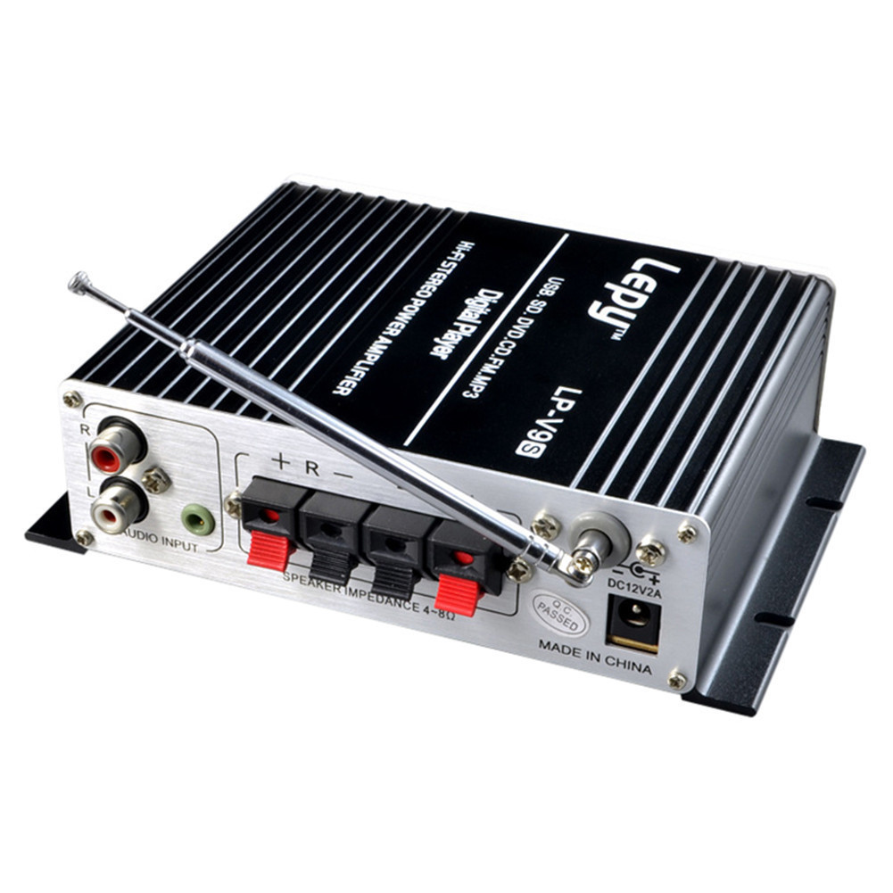 2x20 watt 2CH Hallo-fi Auto Verstärker Stereo L/R RCA Digital Audio Amp mit USB SD DVD CD FM MP3 Power Adapter LP-V9S