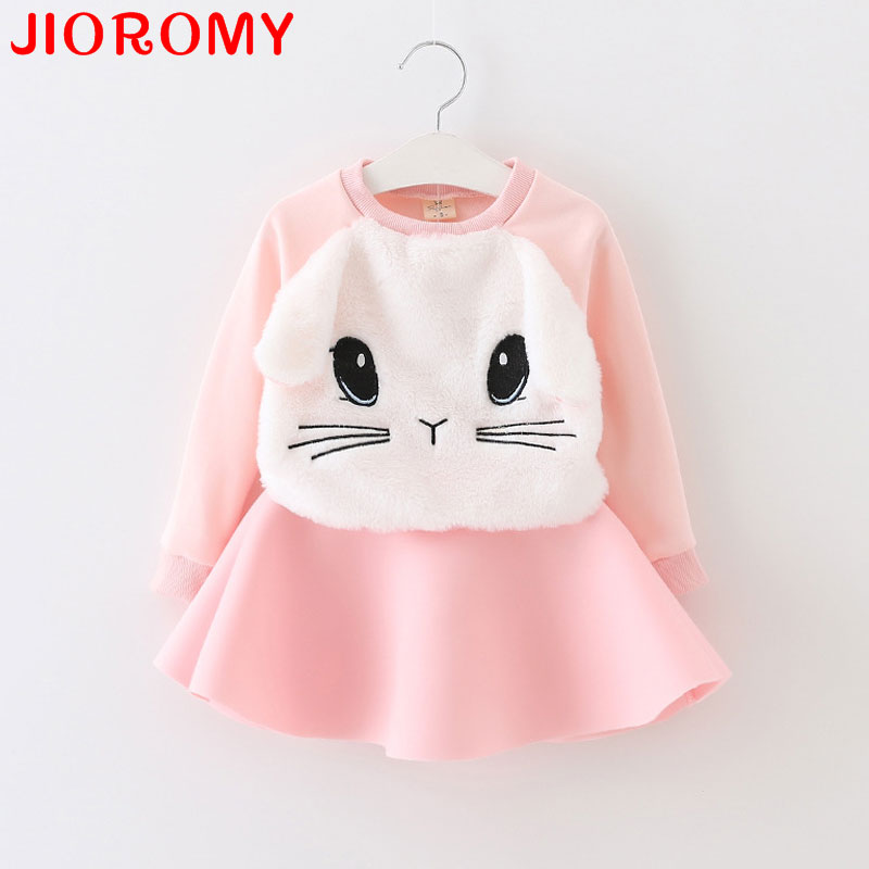 2017 Cartoon Bunny Cat Girl Clothes Suit Long Sleeve T-shirt Tops and Skirt 2pcs Set Fashion Fall Suit 2 Colors 80-120 Rabbit family fashion summer tops 2015 clothers short sleeve t shirt stripe navy style shirt clothes for mother dad and children