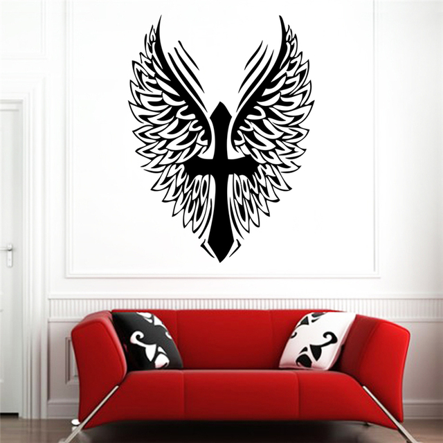 creative cross angel wings wall stickers art home decor for living