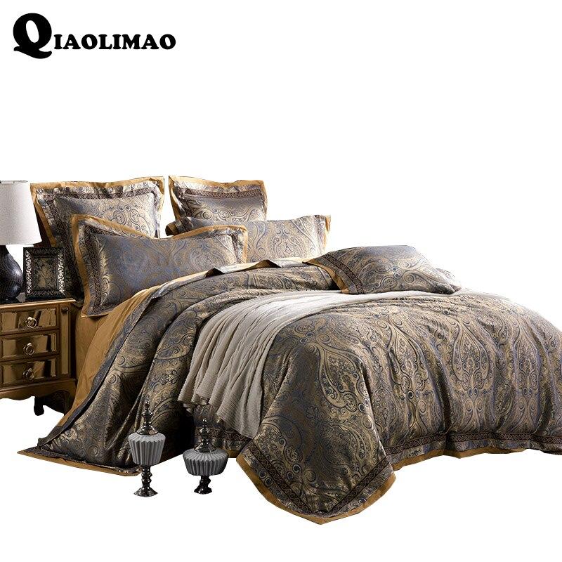 Сатиновые жаккардовые комплекты постельного белья, 100% хлопок, 4/6 шт., постельное белье с диагональной печатью, двойной двуспальный пододеял