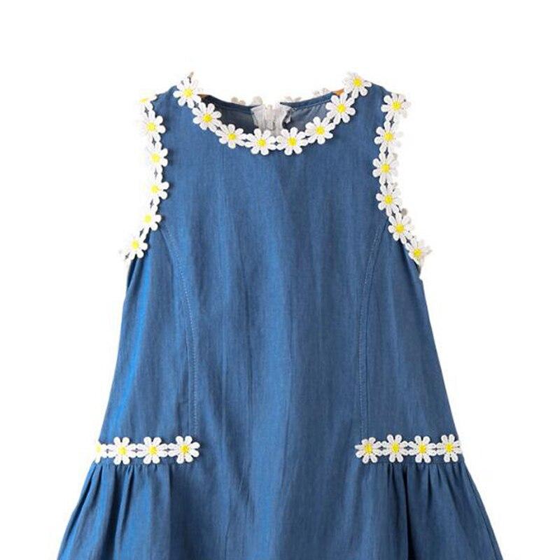 Kinder Feestjurken.Amyababy Children Denim Dress Flower Girls Casual Dresses Kids