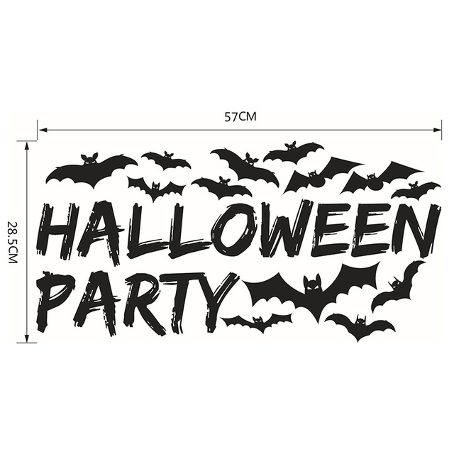 Halloween party theme bat vinyl wall sticker for kids room living removable diy art wall decal