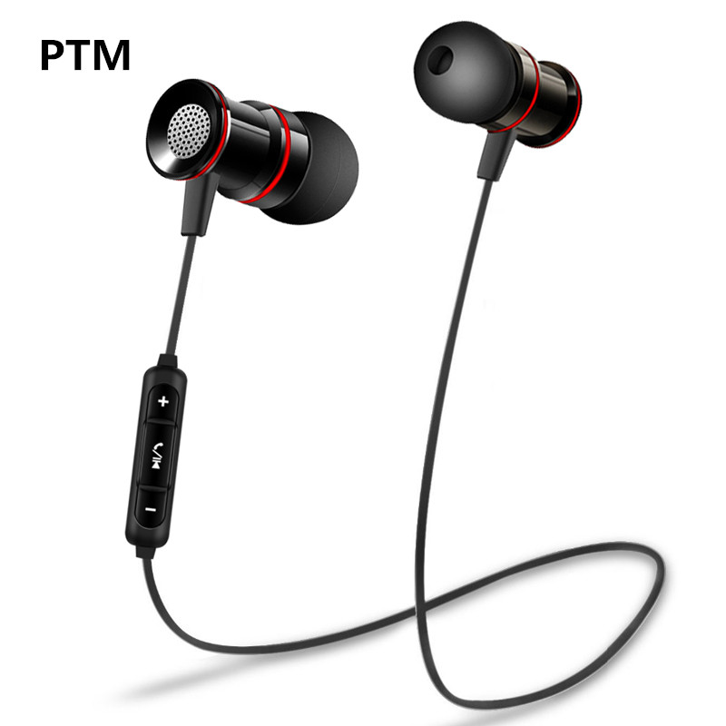 PTM BM9 Bluetooth Earphone Headphone Stereo Bass Wireless Neckband Sport Metal Headphone Bluetooth V4.2 With Mic For Phone